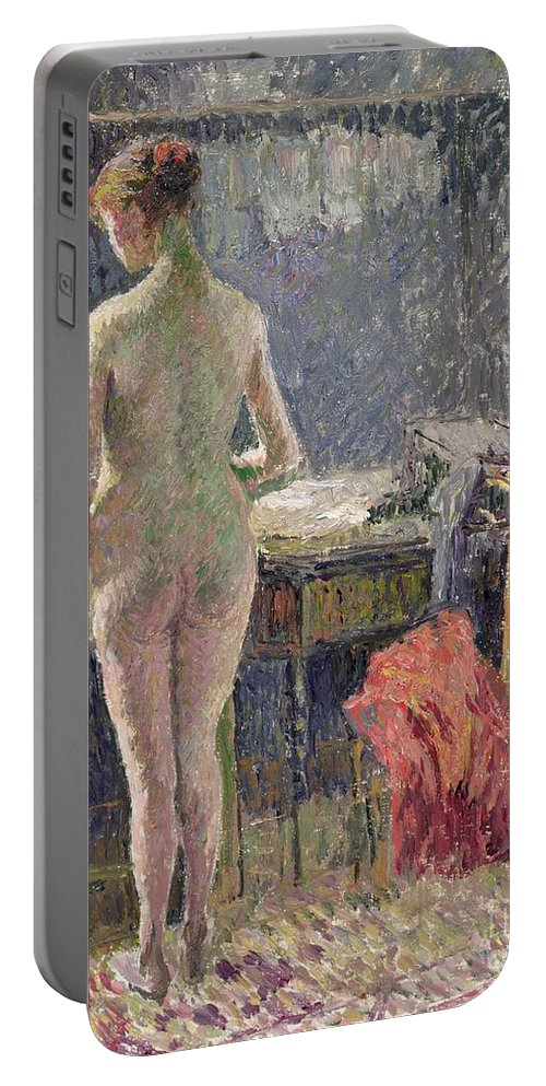 Behind; Full Length; Interior; Impressionist; Rear View Portable Battery Charger featuring the painting Female Nude Seen From The Back by Camille Pissarro