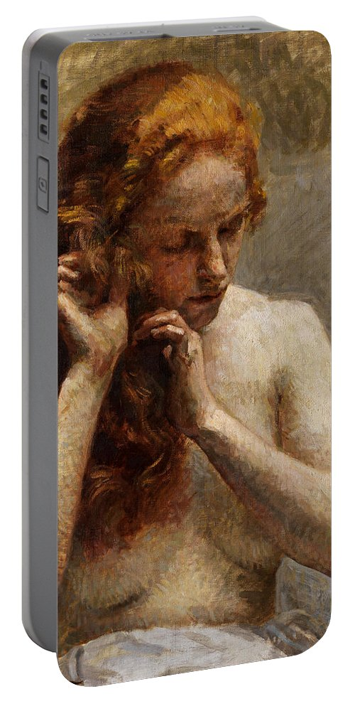 Vlaho Bukovac Portable Battery Charger featuring the painting Female Nude with Red Hair by Vlaho Bukovac