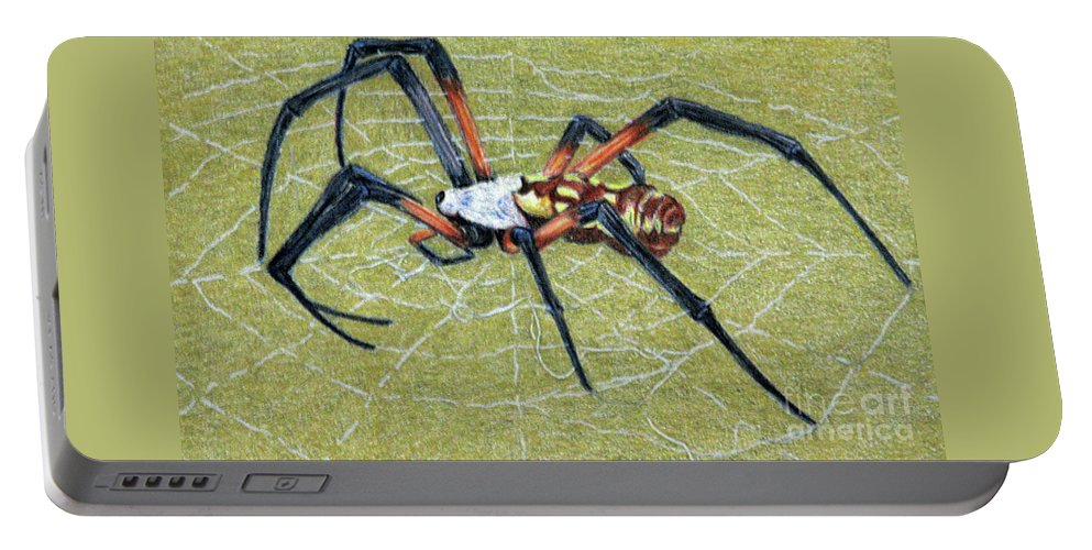 Fuqua - Artwork Portable Battery Charger featuring the drawing Female Orb Spider -1 by Beverly Fuqua