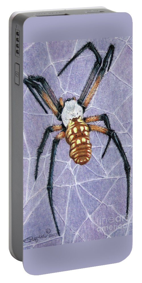 Fuqua - Artwork Portable Battery Charger featuring the drawing Female Orb Spider by Beverly Fuqua