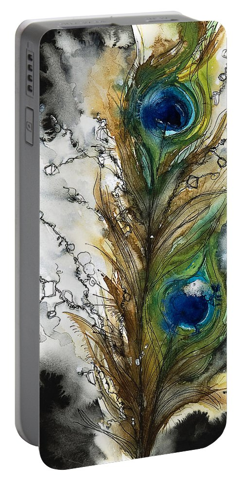 Abstract Portable Battery Charger featuring the painting Female by Tara Thelen - Printscapes