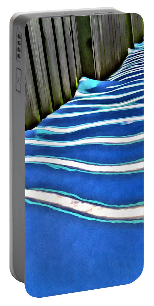 Snow Portable Battery Charger featuring the photograph Fence Shadows by Modern Art