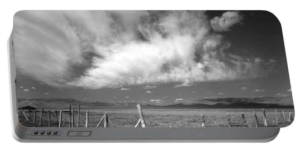 Black And White Portable Battery Charger featuring the photograph Fence Valley by Leland D Howard