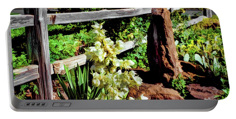 Jon Burch Portable Battery Charger featuring the photograph Fence-yucca-rock by Jon Burch Photography