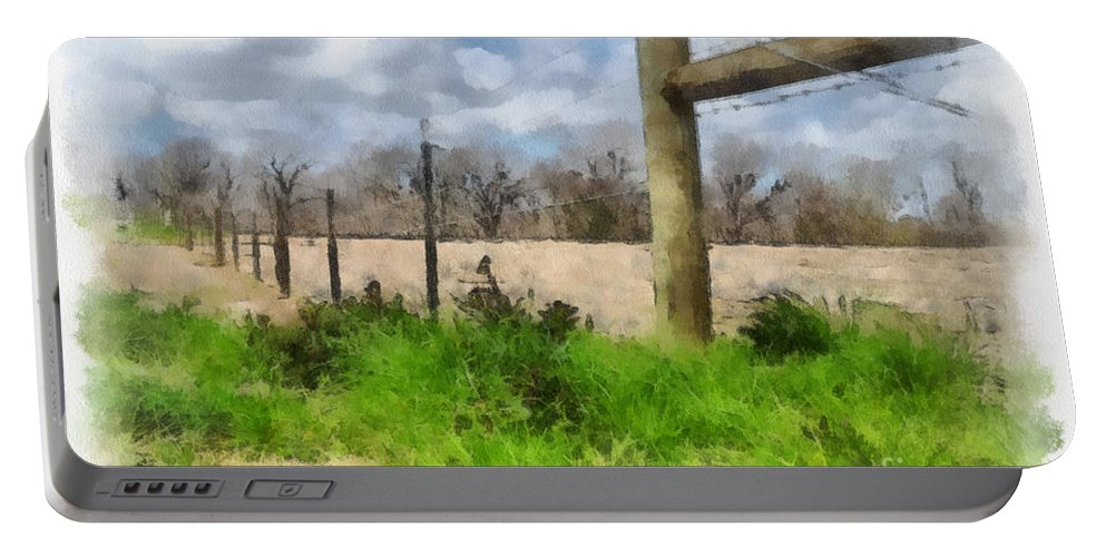 Fenceline Portable Battery Charger featuring the painting Fenceline by Paulette B Wright
