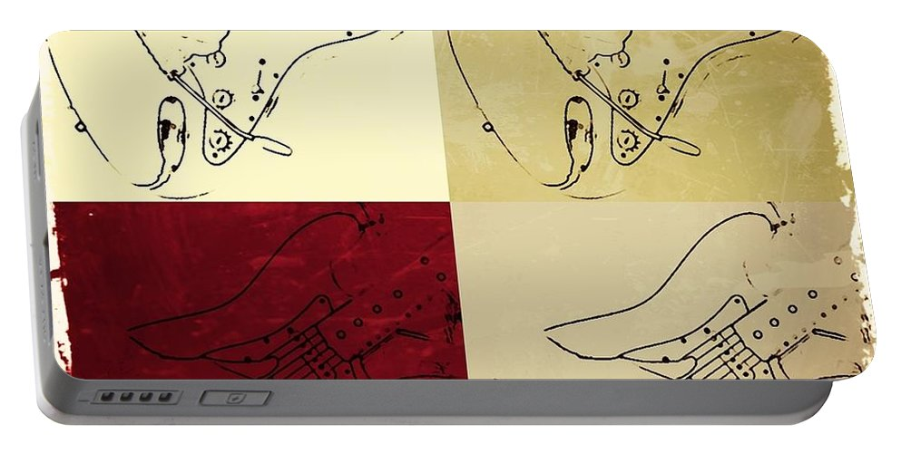 Fender Portable Battery Charger featuring the photograph Fender Guitar Panel-quadriptych by Chris Berry