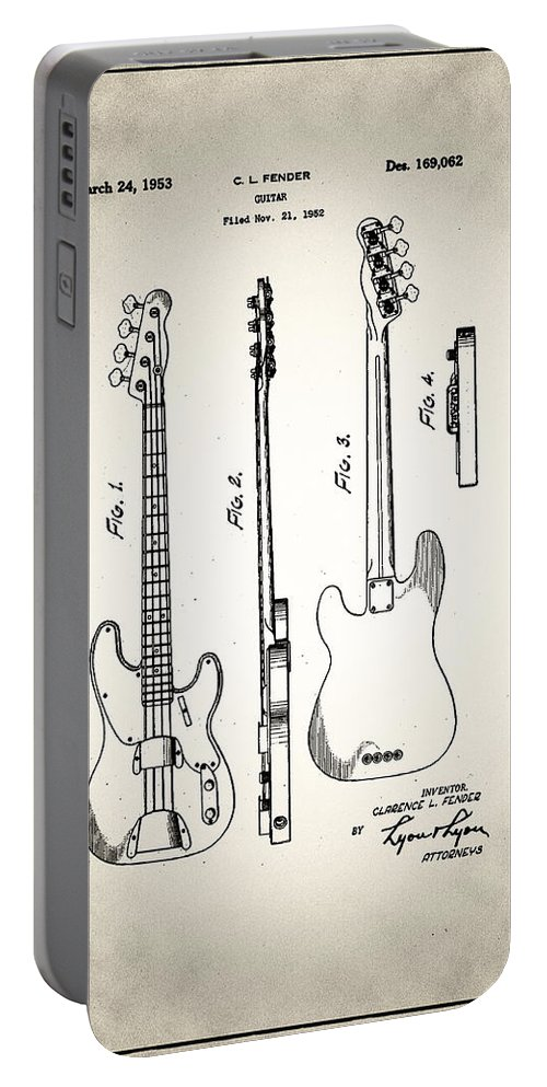 Fender Portable Battery Charger featuring the digital art Fender Precision Bass Patent 1952 by Bill Cannon