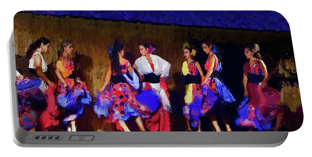 Casares Portable Battery Charger featuring the mixed media Feria Dance by Chris North