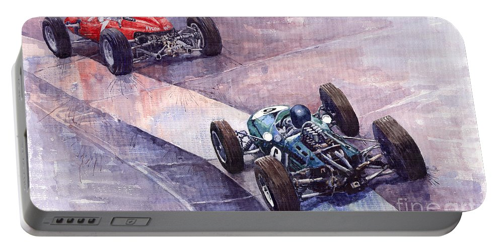 Watercolour Portable Battery Charger featuring the painting 1964 Ferrari 158 Vs Brabham Climax German Gp 1964 by Yuriy Shevchuk