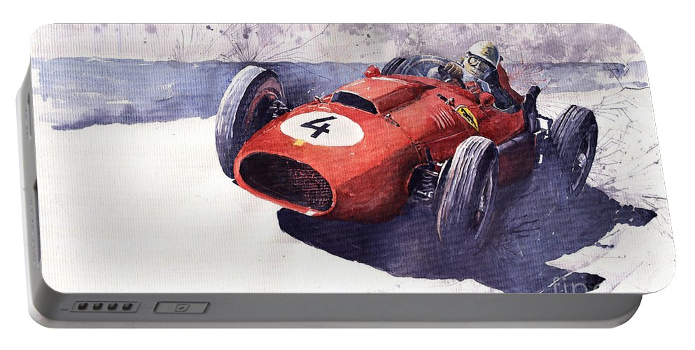 Watercolour Portable Battery Charger featuring the painting Ferrari 246 Mike Hawthorn by Yuriy Shevchuk