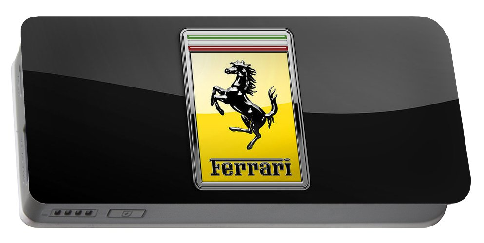 �auto Badges� Collection By Serge Averbukh Portable Battery Charger featuring the photograph Ferrari 3D Badge- Hood Ornament on Black by Serge Averbukh