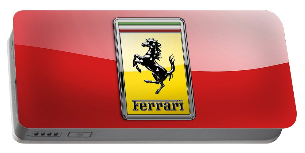 �auto Badges� Collection By Serge Averbukh Portable Battery Charger featuring the photograph Ferrari 3D Badge-Hood Ornament on Red by Serge Averbukh