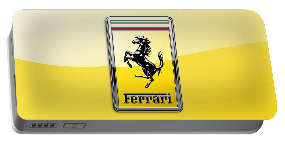 �auto Badges� Collection By Serge Averbukh Portable Battery Charger featuring the photograph Ferrari 3d Badge- Hood Ornament On Yellow by Serge Averbukh