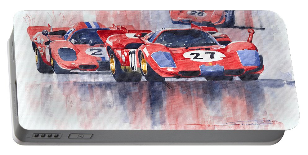 Watercolour Portable Battery Charger featuring the painting Ferrari 512 S 1970 24 Hours Of Daytona by Yuriy Shevchuk