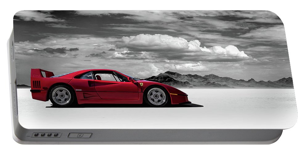 Red Portable Battery Charger featuring the digital art Ferrari F40 by Douglas Pittman