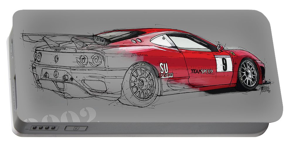 Ferrari Portable Battery Charger featuring the drawing Ferrari Michelotto Race Car. Handmade Drawing. Number 9 Le Mans by Drawspots Illustrations