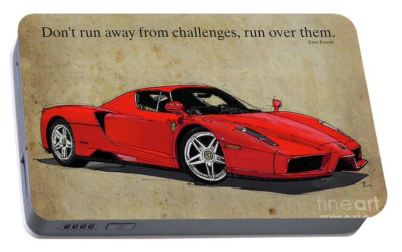 Ferrari Red Classic Car And Enzo Ferrari Quote, Vintage Brown Background  Portable Battery Charger for Sale by Drawspots Illustrations