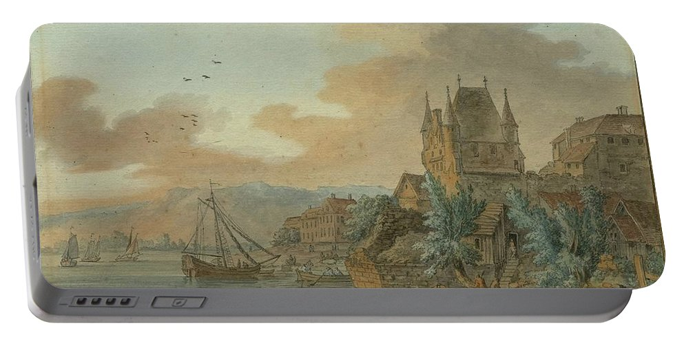 Hackert Portable Battery Charger featuring the painting Ferry Across A River by MotionAge Designs