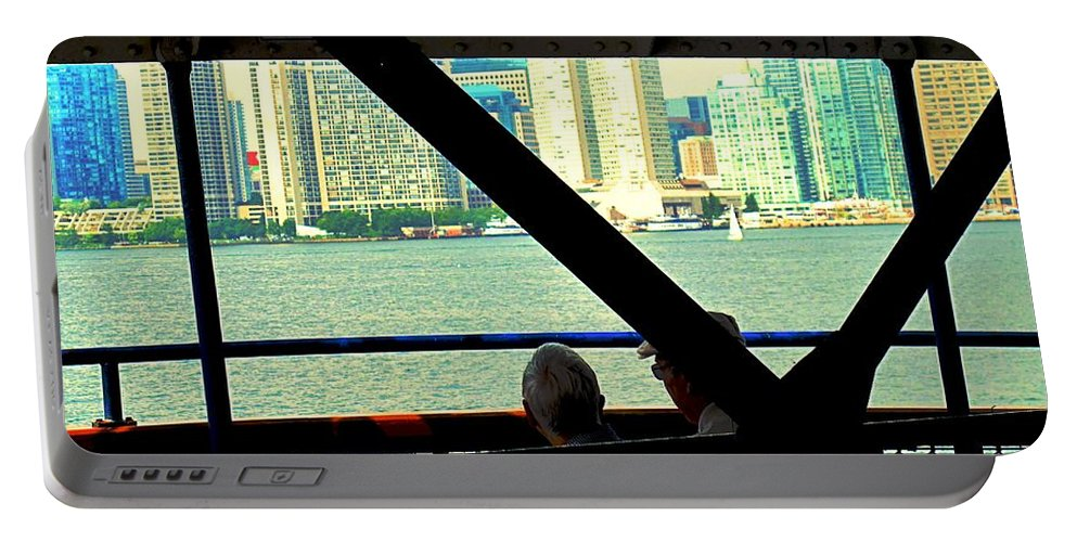 Ferry Portable Battery Charger featuring the photograph Ferry Across The Harbor by Ian MacDonald