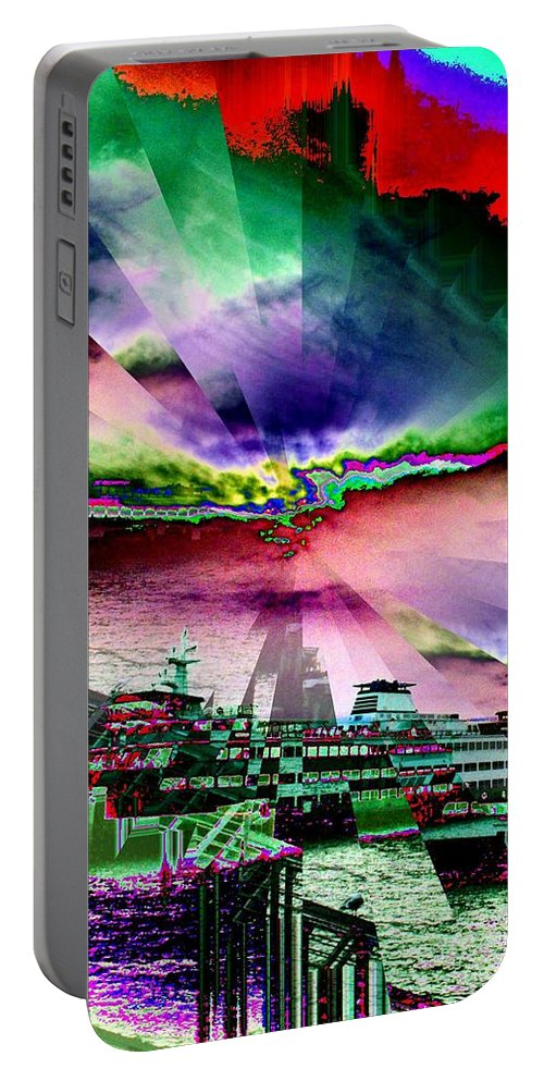 Seattle Portable Battery Charger featuring the digital art Ferry Illusion by Tim Allen