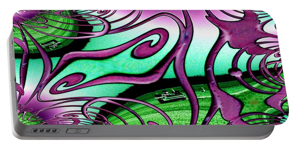Seattle Portable Battery Charger featuring the digital art Ferry On Elliott Bay 2 by Tim Allen