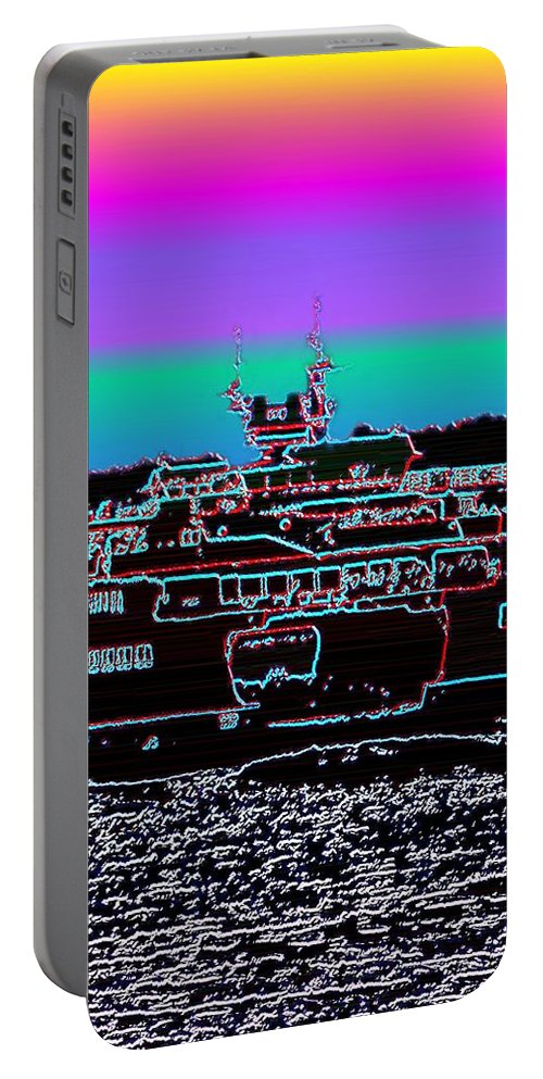 Seattle Portable Battery Charger featuring the photograph Ferry On Elliott Bay 4 by Tim Allen