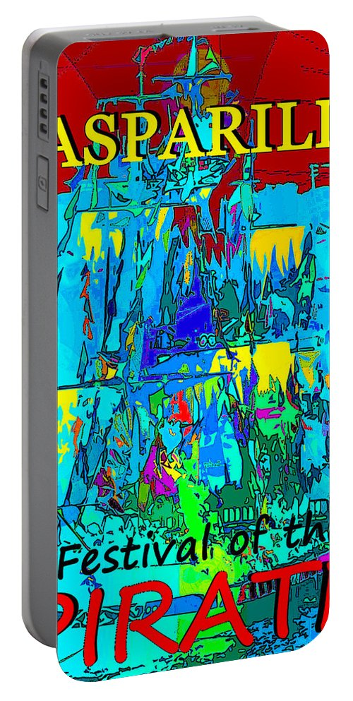 Festival Of The Pirate Portable Battery Charger featuring the painting Festival Of The Pirate by David Lee Thompson