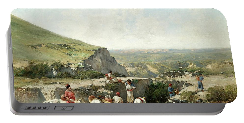 Victor-pierre Huguet Portable Battery Charger featuring the painting Fetching Water. Algeria by Victor-Pierre Huguet