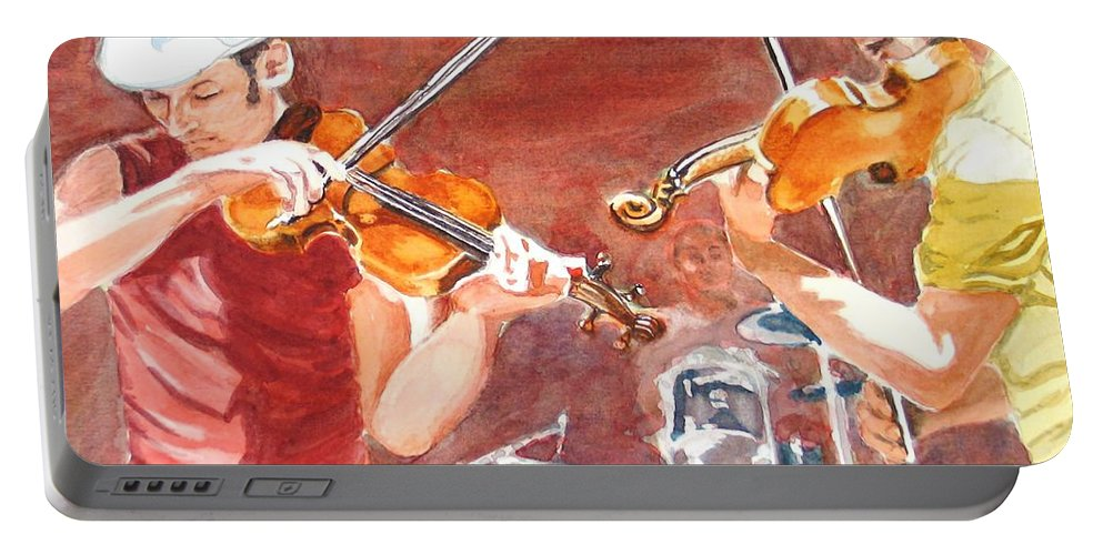Musicians Portable Battery Charger featuring the painting Fiddles by Karen Ilari