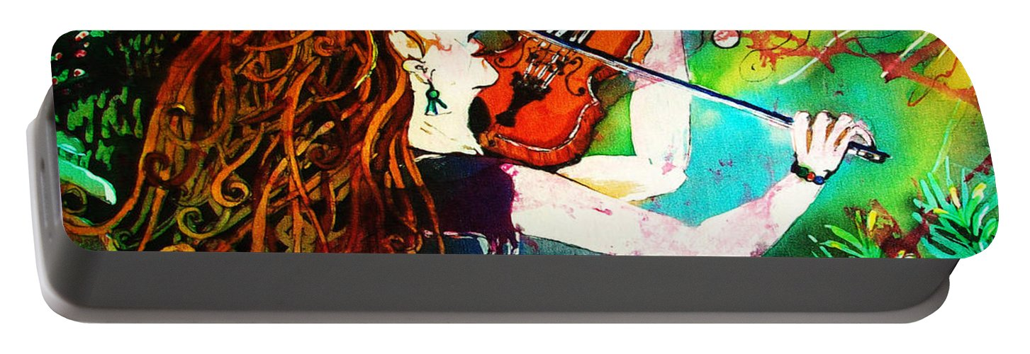 Music Portable Battery Charger featuring the painting Fiddling Toward the Sun by Sue Duda