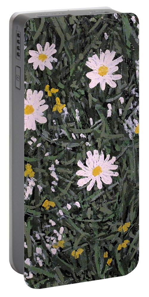Daisies Portable Battery Charger featuring the painting Field Daisies by Ian MacDonald