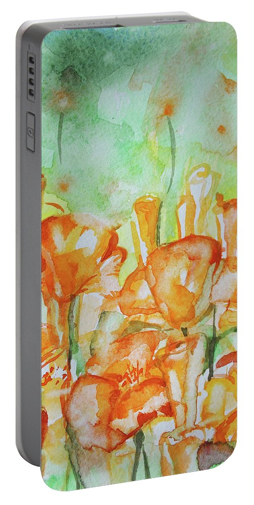Portable Battery Charger featuring the painting Field Of California Poppies by Maria Arnaudova