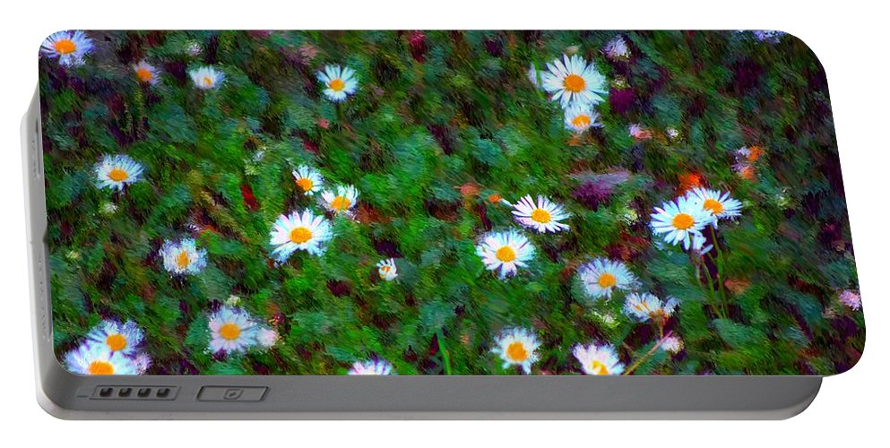 Digital Photograph Portable Battery Charger featuring the photograph Field Of Daisys by David Lane