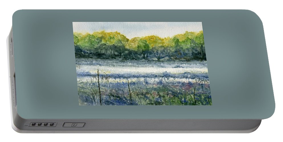 Minnesota Portable Battery Charger featuring the painting Field Of Frost by Mary Tuomi