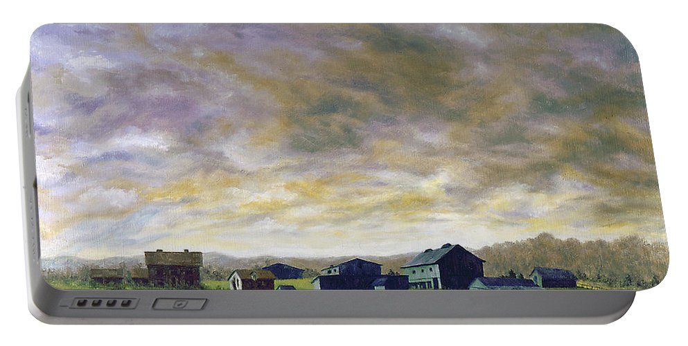 Portable Battery Charger featuring the painting Field Of Green 18x24  by Tony Scarmato