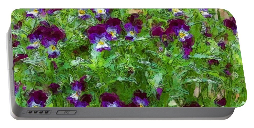 Digital Photograph Portable Battery Charger featuring the photograph Field Of Pansy's by David Lane