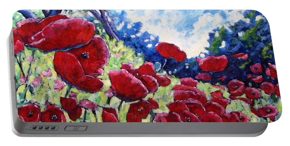 Poppies Portable Battery Charger featuring the painting Field Of Poppies 02 by Richard T Pranke