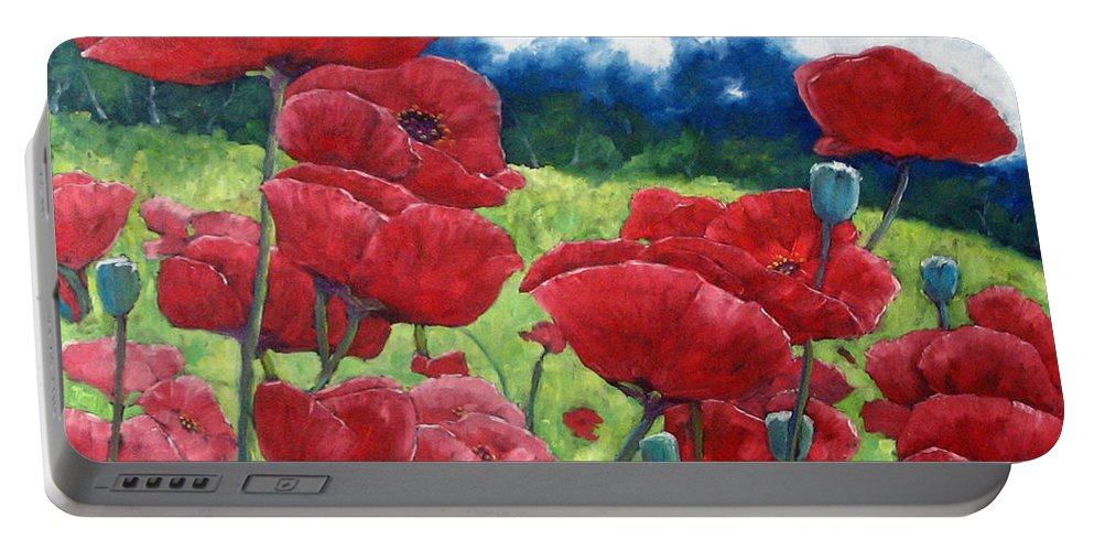 Poppies Portable Battery Charger featuring the painting Field Of Poppies by Richard T Pranke
