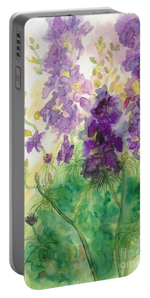 Watercolor Portable Battery Charger featuring the painting Field Of Purple by Vicki Housel