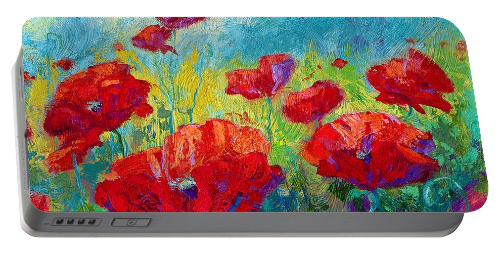 Poppies Portable Battery Charger featuring the painting Field Of Red Poppies by Marion Rose