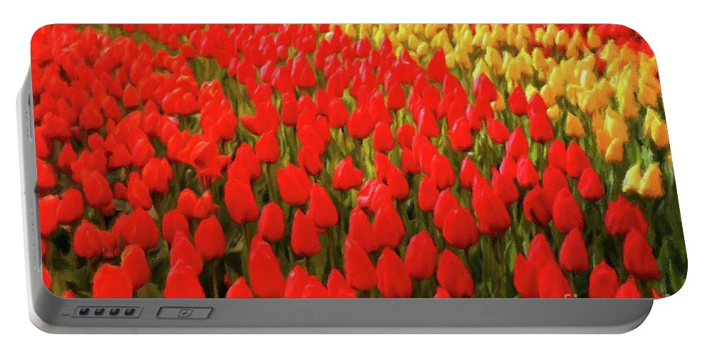 Landscape Portable Battery Charger featuring the painting Field Of Tulips by Sarah Kirk