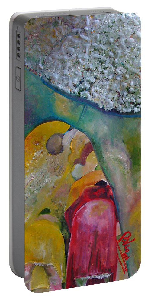 Cotton Portable Battery Charger featuring the painting Fields Of Cotton by Peggy Blood