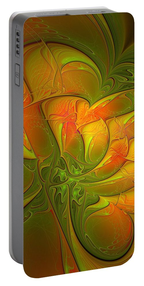 Digital Art Portable Battery Charger featuring the digital art Fiery Glow by Amanda Moore