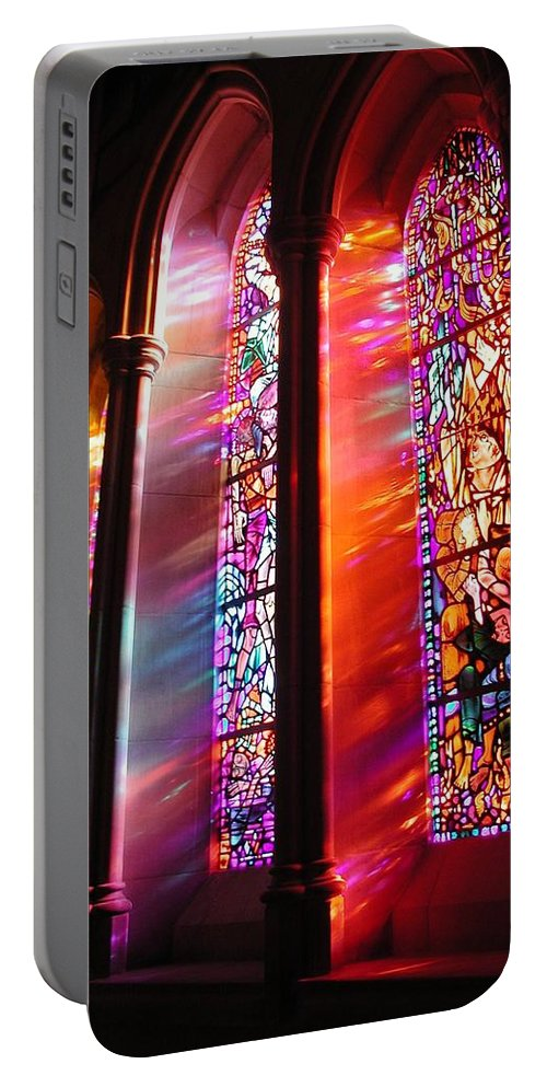 Church Portable Battery Charger featuring the photograph Fiery Light 1 by Tom Reynen