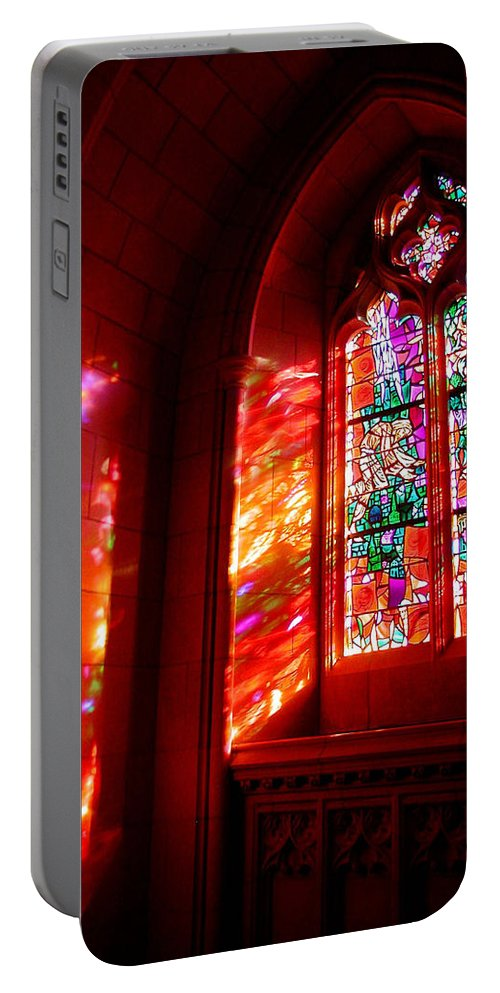 Stained Glass Portable Battery Charger featuring the photograph Fiery Light 2 by Tom Reynen