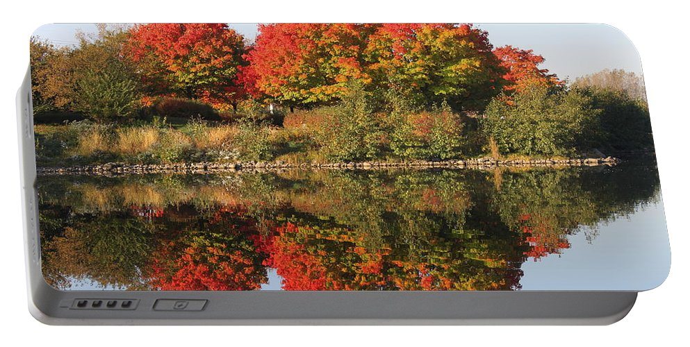 Fall Portable Battery Charger featuring the photograph Fiery Reflections by Lauri Novak