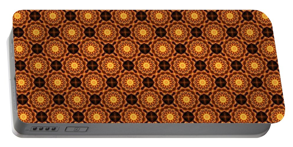 Kaleidoscope Portable Battery Charger featuring the photograph Fiery Sunflower Wallpaper by M E Cieplinski
