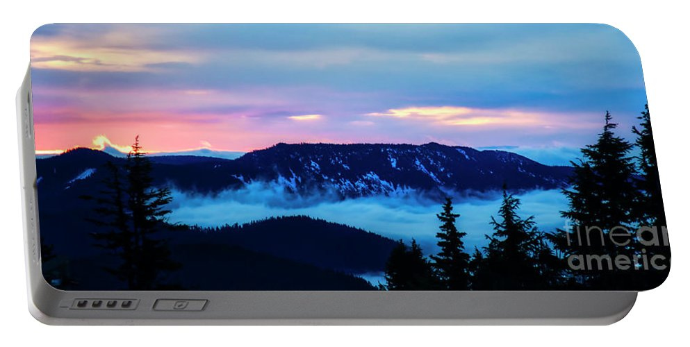 Sunrise Portable Battery Charger featuring the photograph Fiery Sunrise From Mt. Hood by Bruce Block