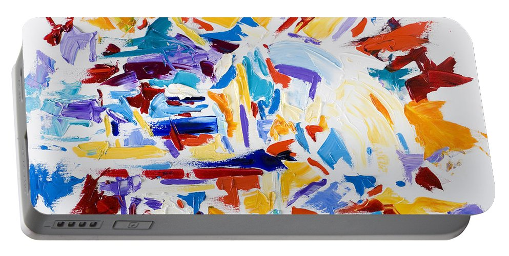 Abstract Yellow Portable Battery Charger featuring the painting Fiesta by Shannon Grissom