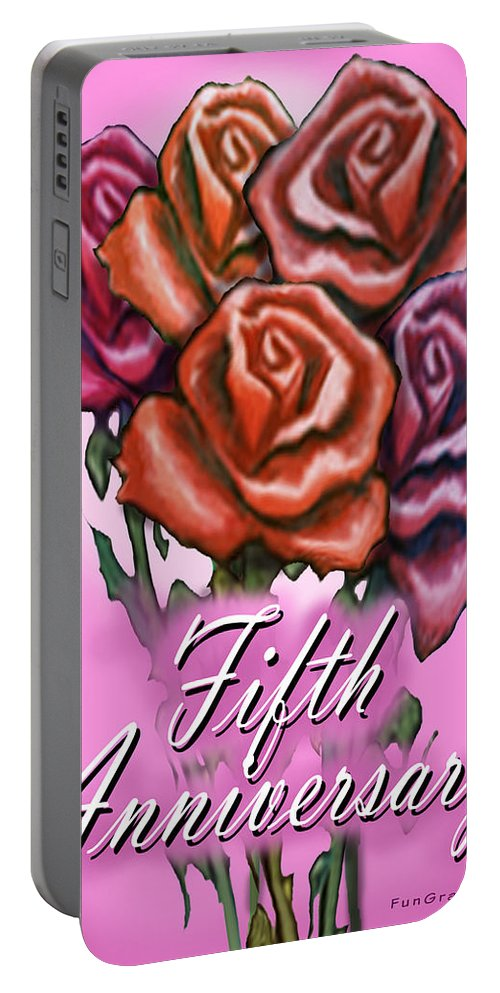Fifth Portable Battery Charger featuring the greeting card Fifth Anniversary by Kevin Middleton